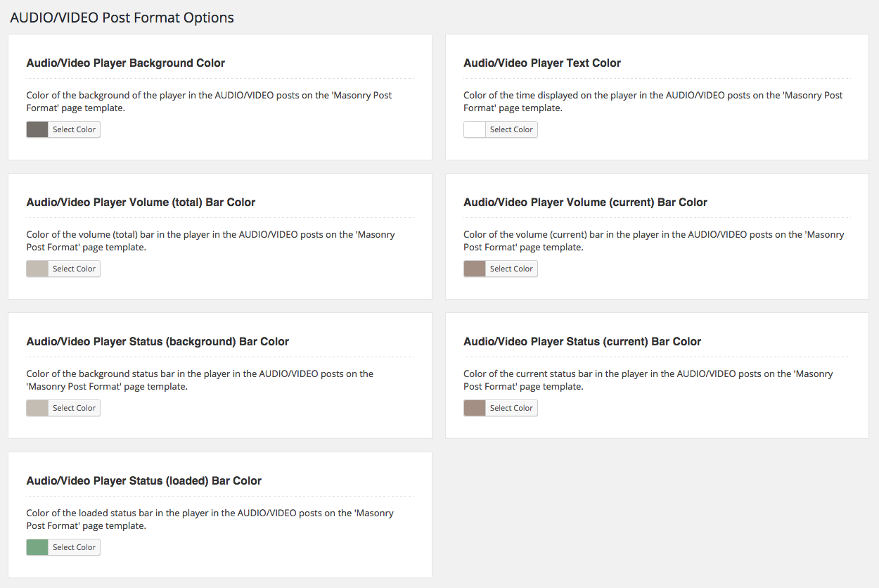 WordPress Post Format Options