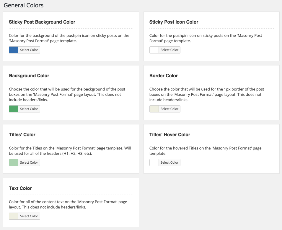 WordPress Standard Post Format Options
