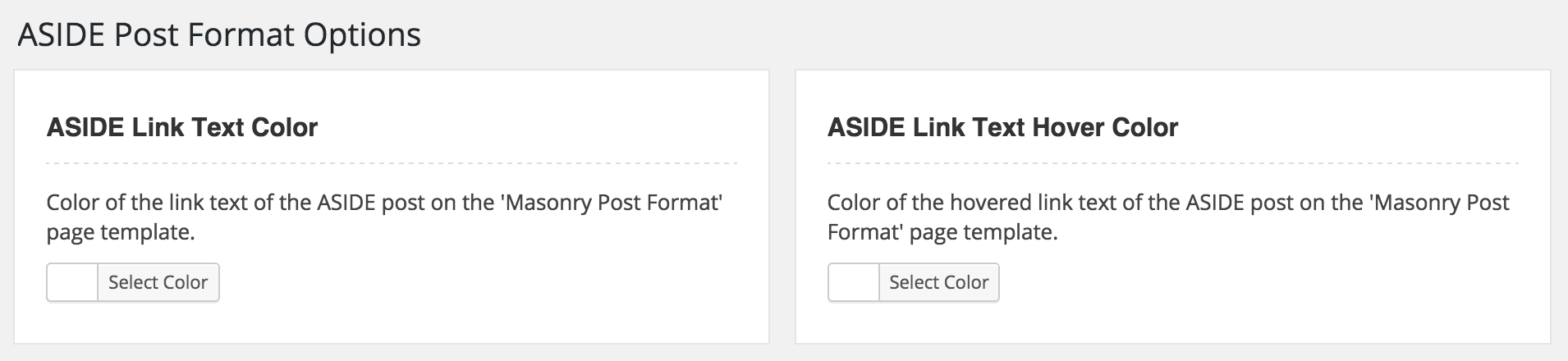 WordPress Aside Post Format Options