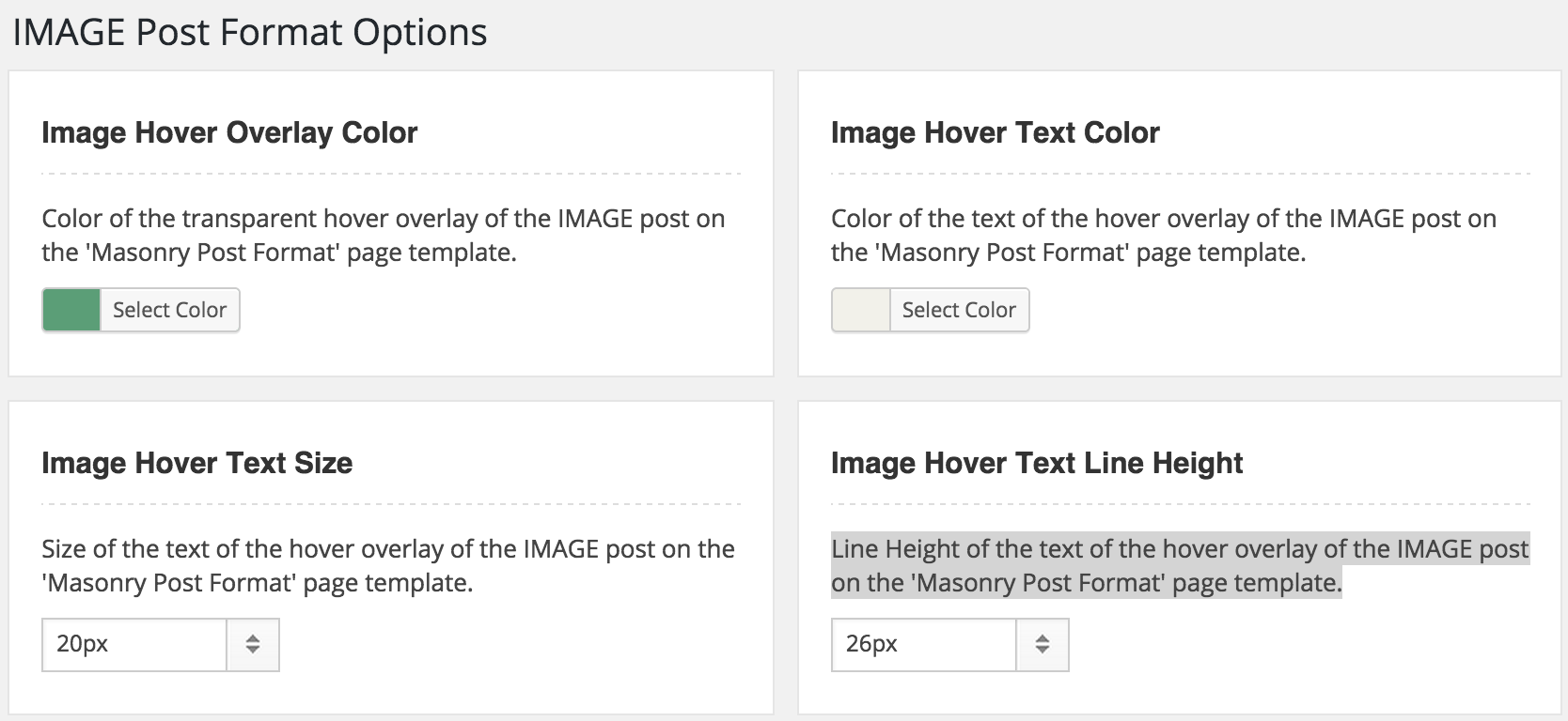 WordPress Image Post Formats Options
